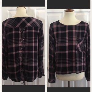Cloth & Stone Navy Plaid Top Blouse Lace Up Back